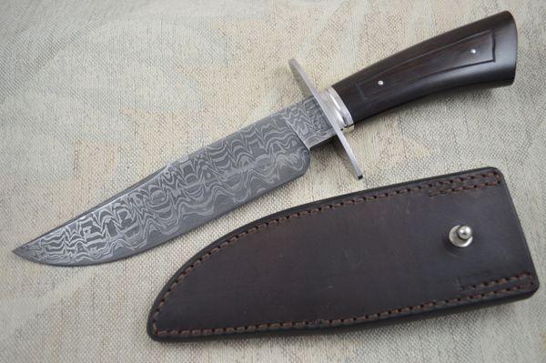 Lin Rhea, J.S. Damascus Bowie Knife, Kenny Rowe Sheath (SOLD)