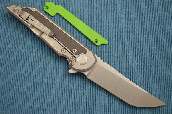 Jake Hoback Carbon Fiber Kwaiback UHEP Frame-Lock Flipper, Toxic Green G10 Inlay (SOLD)