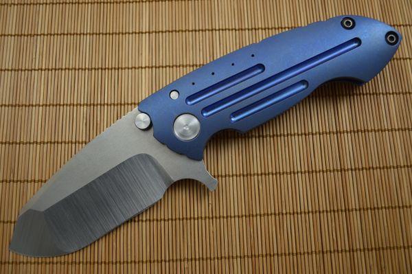 Direware SOLO Flipper, Blue Anodized Titanium, Non-Recurve Blade Tumbled Flats (SOLD)