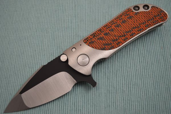 Direware M8 Flipper, Ti Frame, Double Sided Orange / Black Carbon Fiber Inlays, Satin Blade Black Ceramic Flats (SOLD)