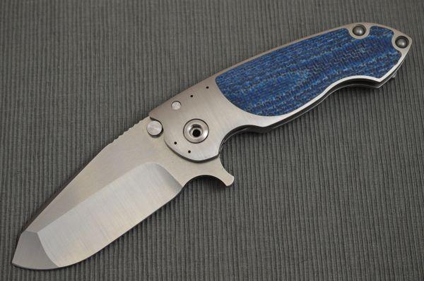 Direware SOLO Flipper, Blue Silver Twill Inlays, M390 Blade (SOLD)