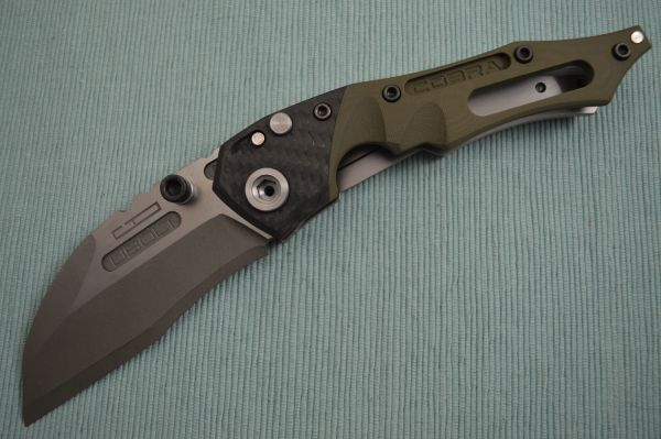 Dwaine Carrillo PROTOTYPE, No. 0, Button-Lock Cobra M4 Carbon Fiber, OD Green G10 (SOLD)