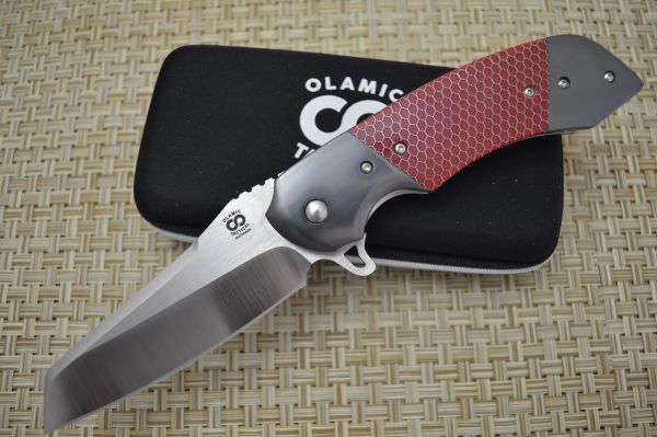 "Olamic Cutlery Custom ""Wayfarer Sheepscliffe"" Liner-Lock Flipper, Double Zirconium Bolsters, Red C-Tek (SOLD)"