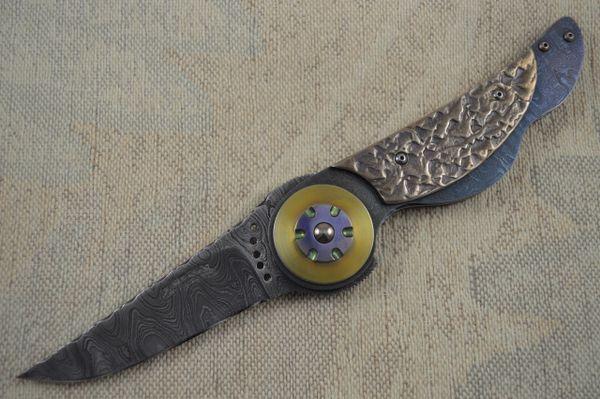 Randall Gilbreath Damascus Folding Art Knife, Don Fogg Sculpted Titanium Scales (SOLD)