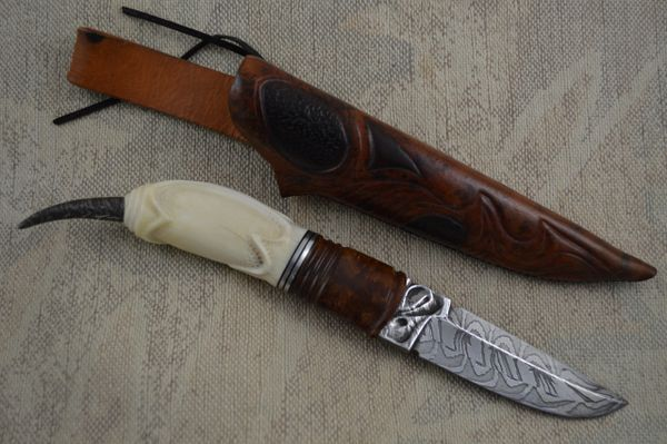 "André Andersson ""Stinger"" Fixed Blade Carved Whale Tooth (SOLD)"
