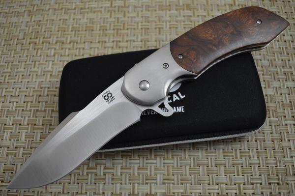 "Olamic Cutlery Custom ""Wayfarer Harpoon"" Liner-Lock Flipper, Ironwood Burl (SOLD)"