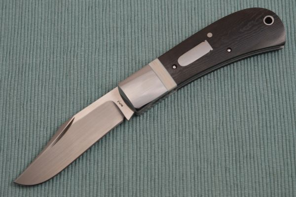 Bill Ruple LANNY'S CLIP, Black Micarta Scales, Mammoth Ivory Inlay, 2018 Blade Show (SOLD)