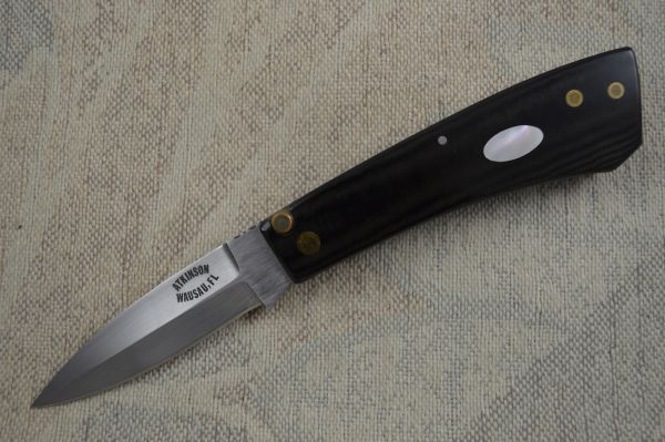 Dick Atkinson Custom Handmade Mother Of Pearl Inlay Lever Lock Back Folder