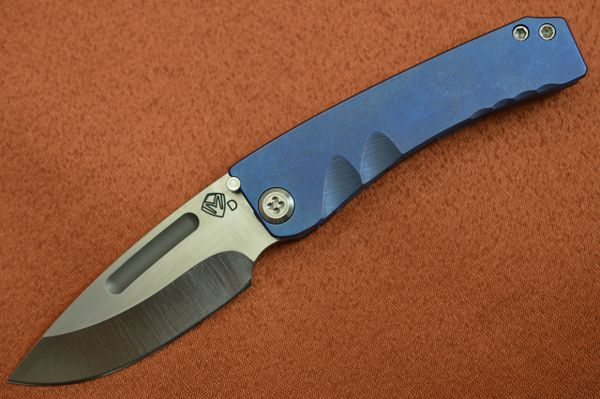 Medford Knife and Tool DRESS MARAUDER, Blue Anodized Titanium Handle, Satin Blade (SOLD)