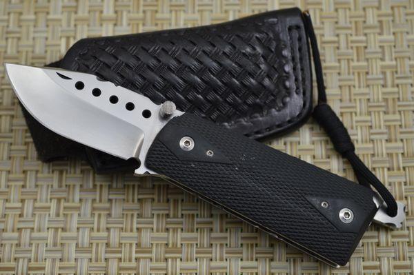 Gene Baskett, Kimber .45 Auto Rubber Grips Lock-Back Folder, File-Work, Leather Sheath (SOLD)