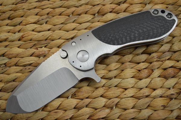 Direware S-96 Flipper, Titanium Frame Carbon Fiber Inlays, Satin M390 Blade (SOLD)