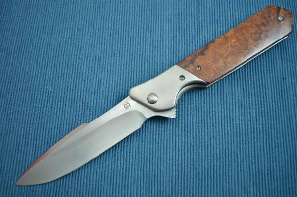 Olamic Cutlery Rainmaker, Desert Ironwood Scales, Harpoon Blade, Orange Peel (SOLD)