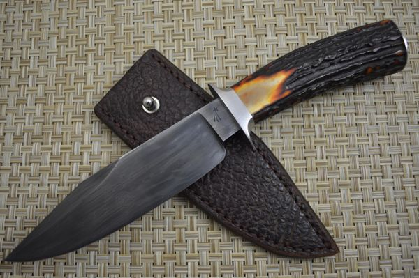 Jim Crowell, M.S. Canned Damascus Bowie Knife, Stag Handle, Shark Skin Sheath (SOLD)