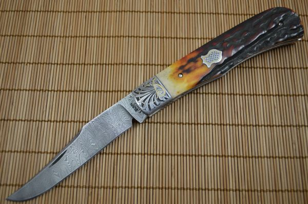 Steve Dunn, M.S. Large Damascus Trapper, Stag, 24K Gold Engraving (SOLD)