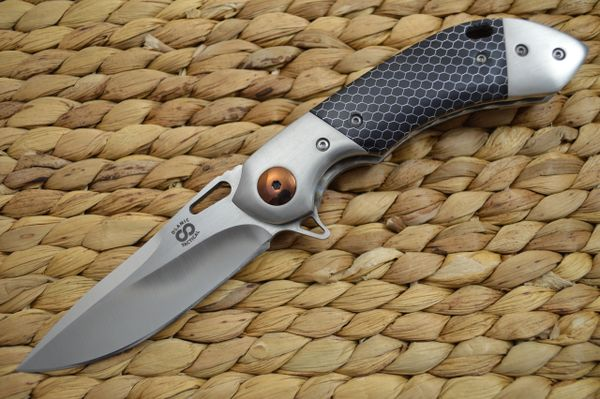 "Olamic Cutlery Wayfarer Compact ""One Off"", Titanium-Damascus Clip, C-Tek Scales (SOLD)"