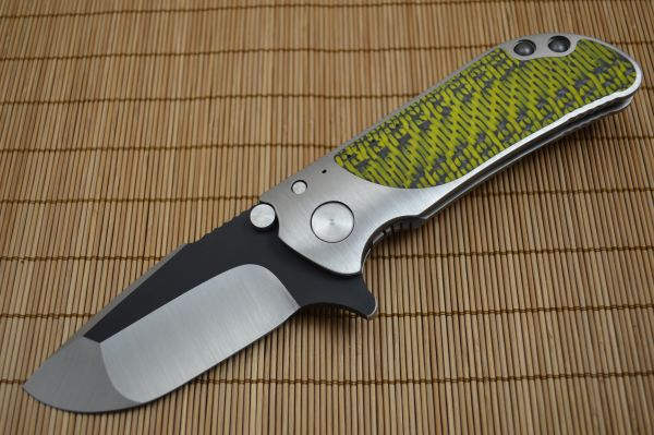 Direware M8 Flipper, Ti Frame, Double Sided Yellow / Black Carbon Fiber, Satin Blade Black Ceramic Flats (SOLD)
