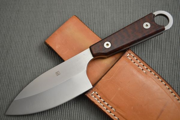 Kevin Wilkins Medium MYTUKO, Fixed Blade Knife, Rowe Leather Sheath