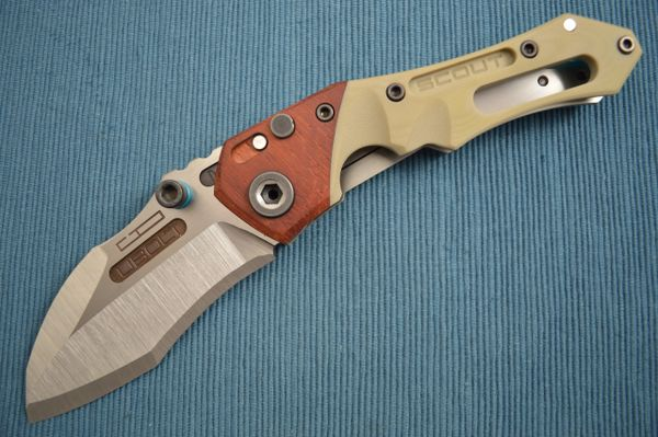 Dwaine Carrillo No. 2 Button-Lock Scout M5, African Padauk, Desert Tan G10 (SOLD)