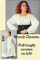 Wench Chemise - Plain, Lace, Celtic, or Thistle.