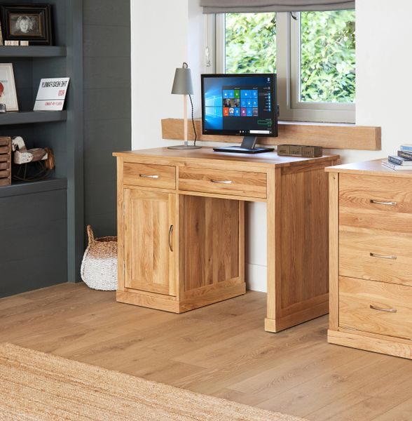 mobel oak fully assembled solid oak single pedestal computer desk from baumhaus