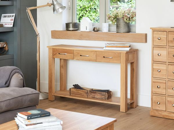 baumhaus mobel oak three drawer console table solid oak assembled kingfisher furniture