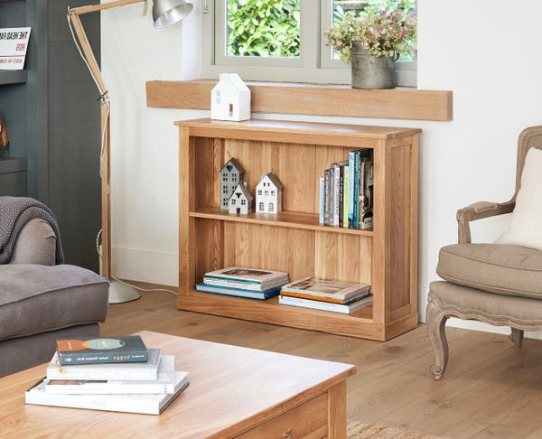 mobel oak fully assembled solid oak low bookcase from baumhaus