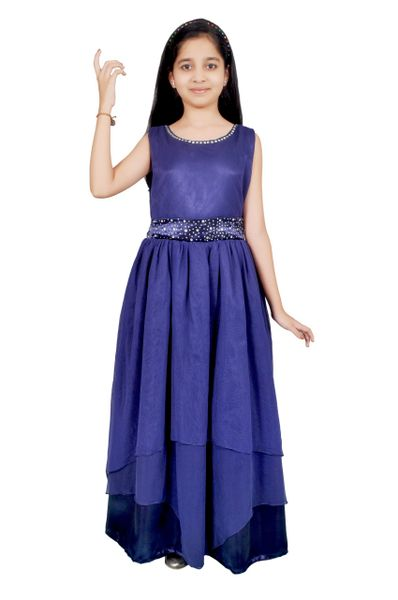 Girls satin and net Blue color long party wear gown/Dress | Justdeal