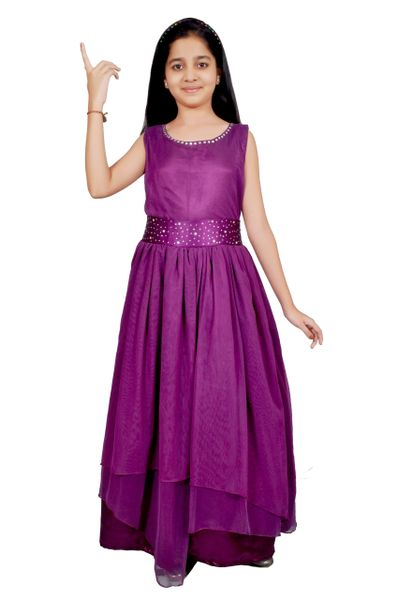 Girls satin and net purple color long party wear gown/Dress | Justdeal