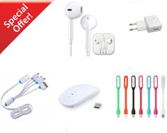 Wireless Mouse,Multi Charger, Universal Adaptor,Head Phone with Mic,Laptop Led Light