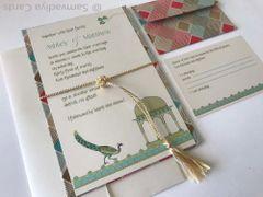 Wedding Invitation (Hardbound Panel Style) & RSVP Card - 'Mandu and the Peacock'