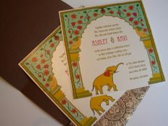 Indian Wedding Invitation & RSVP Card - New Delhi Arch and Elephant