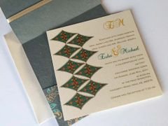 Indian Wedding Invitation & RSVP Card - with a blue green Burfi (Diamond) design