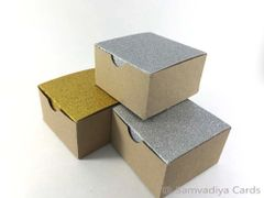 Glitter Gold and Silver lid Kraft Favor Boxes, Small Size, Sturdy - Pack of 9