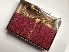 Maroon red embossed with floral design Money Envelope - Gift Box