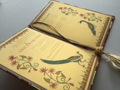 Indian Wedding Invitation and RSVP Card - 'Twin Peacock and Lotus' Gold and Pink from Samvadiya