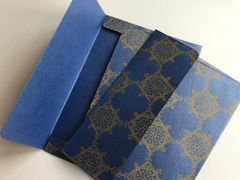 A1/ 4 Bar Envelopes for Indian Wedding Invitation RSVP card - Blue metallic finish paper and Antique Gold Indian Rangoli Print (25 Pack)