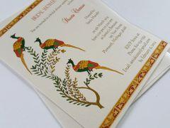Bridal Shower Invitation flat A7 with Tri-Peacock Design - from Samvadiya Cards