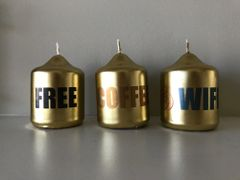 Candle Gift Box, Gold Mini Pillar Candle with printed words 'FREE COFFEE & WIFI' Set of 3 in a handcrafted Gift Box