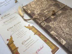 Indian Wedding Stationery - menu card for Palace of Love, New Delhi Invite