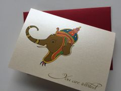House Warming Invitations, Traditional Indian style with Ganesha Ivory with Red envelopes Ideal Puja Naming Ceremony Invites - Box of 10