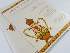 Bridal Shower Invitation flat A7 with Teapot Design - from Samvadiya Cards