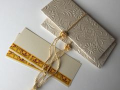 Ivory embossed with floral design Money Envelope - Gift Box