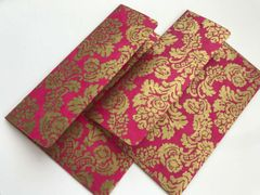 A1/ 4 Bar Envelopes for small card or Indian Wedding Invitation RSVP card - Gold metallic finish paper and Gold Paisley Print (25 Pack)