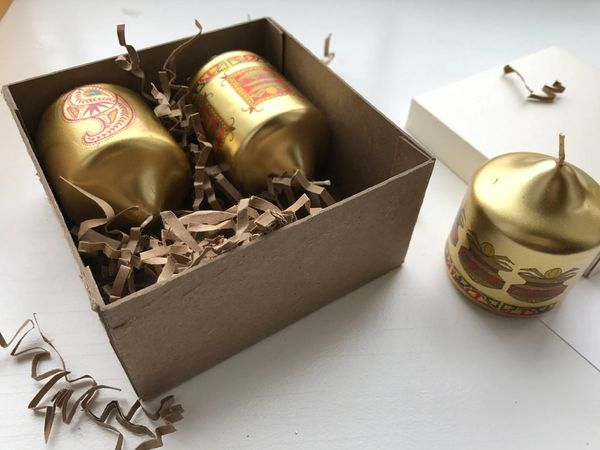 Indian Wedding Favor Gold Mini Pillar Candle Printed Paisley