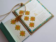 Wedding Invitation and RSVP Card - 'Rangoli' Gold Turquoise and Ivory from Samvadiya