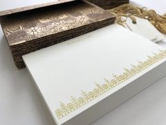Personal or Corporate A6 size Thank You Cards, Crane paper, personalized, brocade print gold and brown envelopes - Set of 20 (Free Shipping within US)