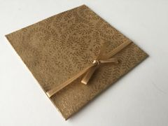 Indian Wedding Invitation Pocket Fold - Sand brown with a gold vine print with ribbon (pack of 12)