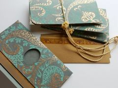 Blue grey cotton paper with gold paisleys mney envelope - Gift Box