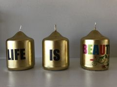 Candle Gift Box, Gold Mini Pillar Candle with printed words 'Life is Beautiful' Set of 3 in a handcrafted Gift Box