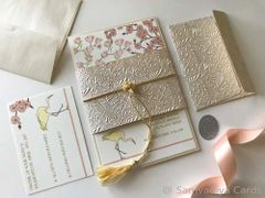 Wedding Invitation (Layered Panel Style) & RSVP Card - 'Cherry Magnolia and the Crane'